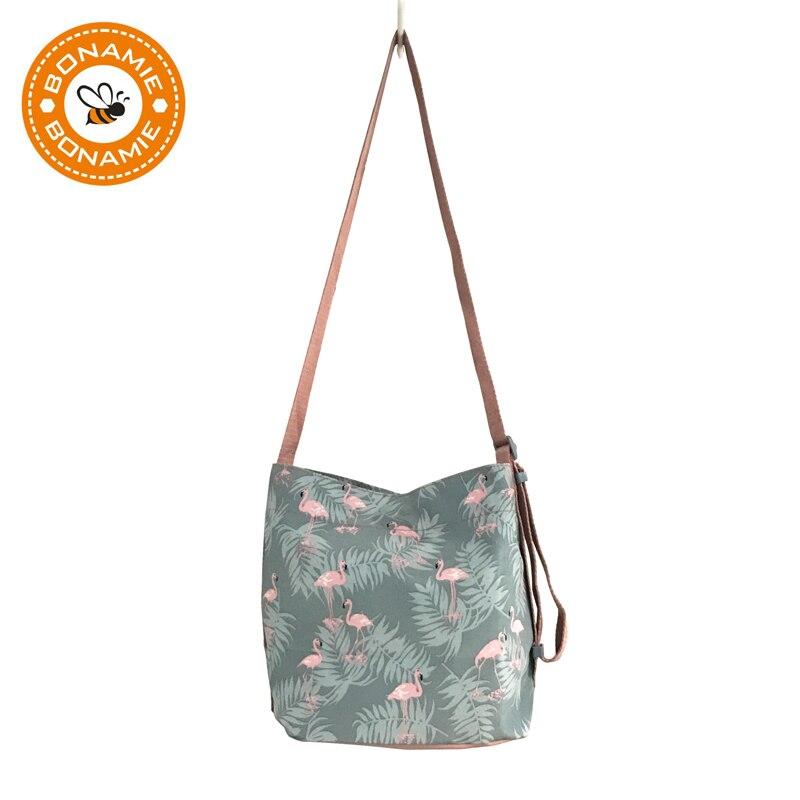 BONAMIE New Pink Flamingo Printing Shoulder Bags Cartoon Polyester Animal Women Handbag Crossbody Messenger Bag Ladies Beach Bag