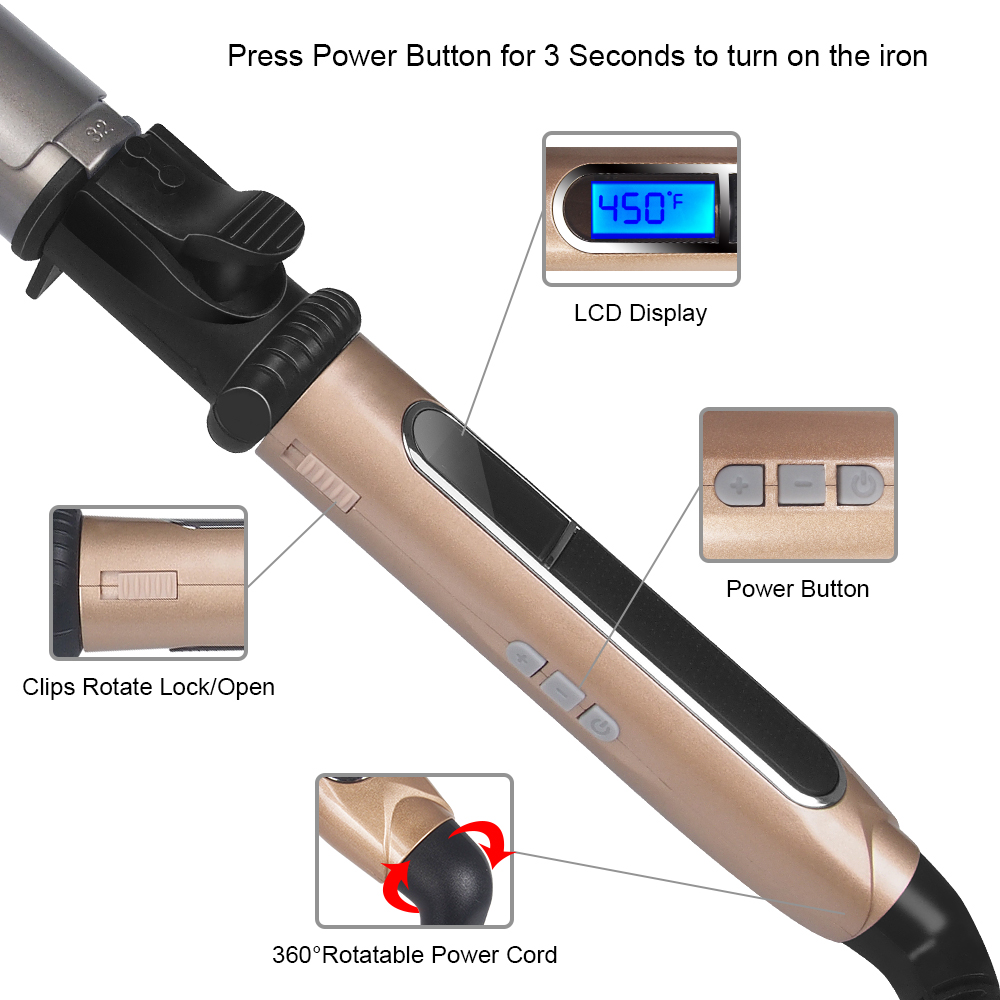 USHOW Curling Iron with Tourmaline Ceramic Technology and Digital Controls with Heat Resistant Silicone Mat 1.25 Inches