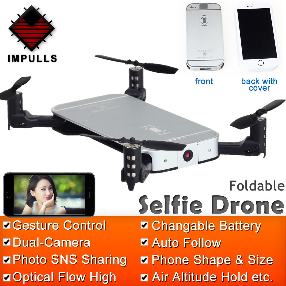 Impulls JXD 520 Pliable Mini RC Téléphone drone fpv Flux Optique Maintien D'altitude hélicoptère RC Avec Caméra HD Geste Tir FSWB