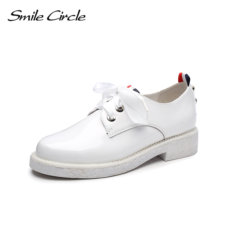Smile Circle British Style Patent Leather Shoes For Women Fashion Pearl Lace-up Round Toe Flat Platform Casual Shoes White Black beffery 2018 british style patent leather flat shoes fashion thick bottom platform shoes for women lace up casual shoes a18a309