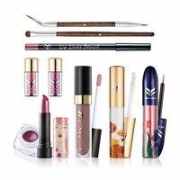 10PCS Professional Makeup Kit With Glitter Eyeshadow Eyeliner Creamy Matt Liquid Lipstick Lipgloss Brows Brush Full