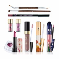 10PCS Professional Makeup Kit With Glitter Eyeshadow Eyeliner Creamy Matt Liquid Lipstick Lipgloss Brows Brush Full