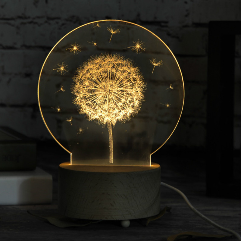 Dandelion Unicorn 3D LED Nightlight Wood Base With Music Box Dimming Remoting Switch Little Girl Gift