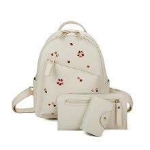 3 компл. Малый Для женщин рюкзак женский 2017 школьная сумка для подростков Обувь для девочек черный PU кожа Сумка Для женщин Composite Backpack Кошелек