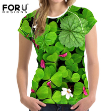 FORUDESIGNS Women tshirt Plus Size Clothing Summer 2018 Clover Floral t-shirt Casual Wonder Harajuku tee shirt Femme Vegan