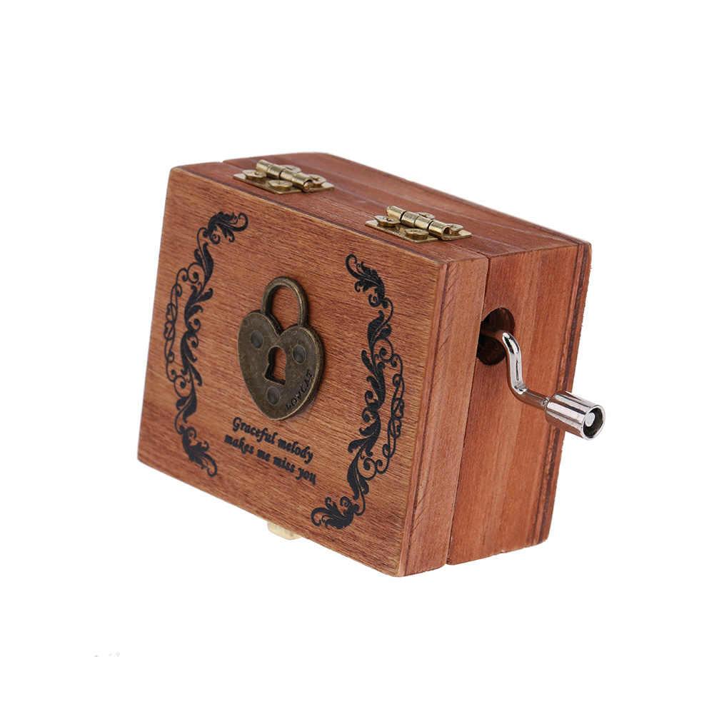 Qualidade Clássica Do Vintage Caixa de Música de Manivela De Madeira Quadrado Requintado Retro Presentes Figura Animal