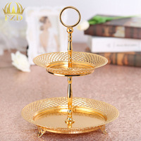 5 Pieces Metal Fruit Serving Tray Golden Plate Cake Plate For Wedding Party Supplies Compote