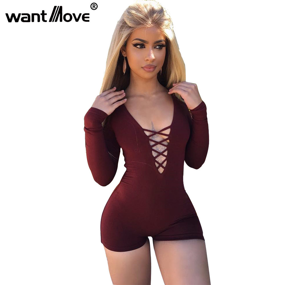 5 Colors polysuit 2019 Summer Rompers Sexy Front Lace Up Bodycon Short   Jumpsuit   Slim Romper XD955