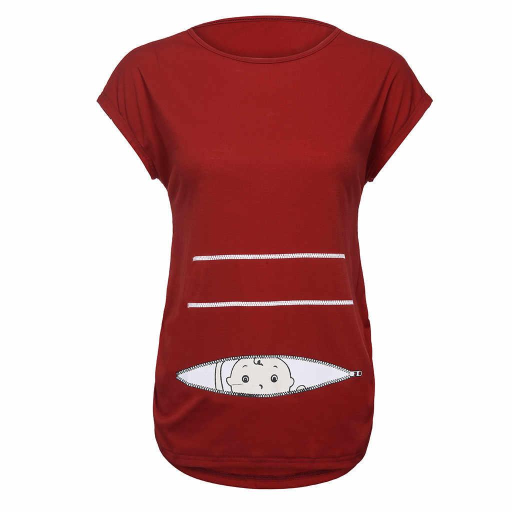 تي شيرت نسائي قصير بأكمام قصيرة ملابس أمومة للحوامل تي شيرت علوي مطبوع عليه رسوم كارتونية برقبة دائرية للتمريض Apl18