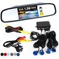 3in1 Car Video Sensor De Estacionamento Assistência Reversa Conectar Câmera de visão Traseira Pode Exibir A Distância em 4.3 de Polegada Monitor de Espelho de Carro