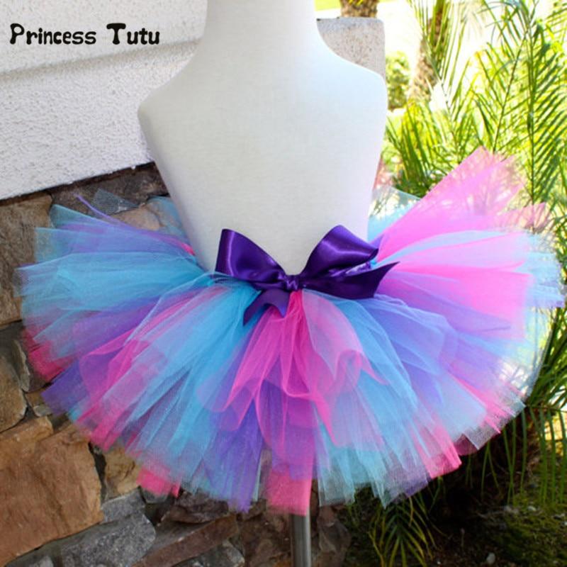 Handmade Princess Tutu Skirt Girl Kids Rainbow Baby Tulle Birthday Party Dance Tutus Pettiskirts Fluffy Girls Skirts In From Mother
