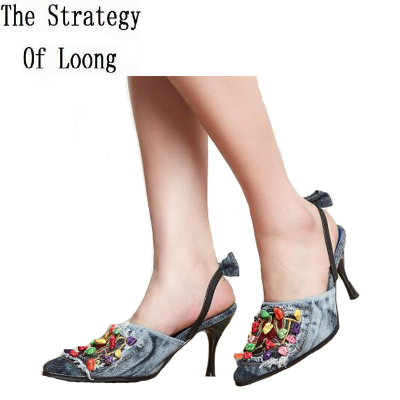 2019 New Arrival Summer Thin High Heels Open Toe Denim Women Sandals Fashion Brand Beading Woman