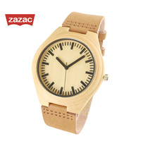 Genuine Leather Strap Bamboo Wooden Watch With Japanese Quartz Movement Casual Wristwatches For Men Women Christmas