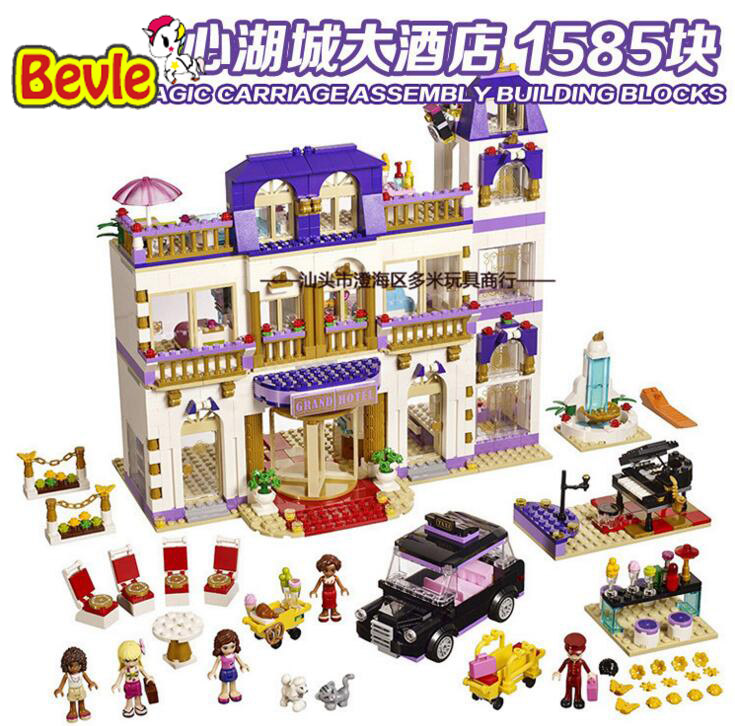 Bela 10547 Friends Heartlake Grand Hotel Andrea/Olivia/Stephanie Building Blocks Bricks Toy Compatible With Friends 41101 1585pcs friends series heartlake grand hotel 10547 model building bricks blocks emma stephanie toys girls compatible with lego
