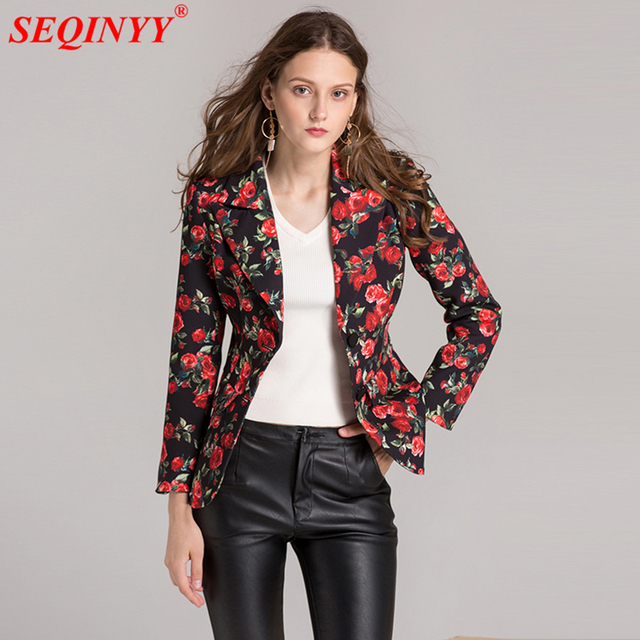 b417da6d9ca Vintage Ladies Floral Coat Autumn 2017 Fashion Single Breasted Women s Long  Sleeve Slim Short Coats and Jackets Costumes