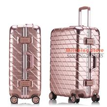 29 INCH 20242629# A drawing  scratch luggage trolley suitcase rose gold hard aluminum frame board chassis direct s FREE SHIPPING