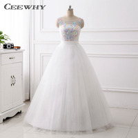 CEEWHY Real Pictures Sleeveless Vestido de Noiva Colorful Appliques Luxury Wedding Dress O-neck Back Lace Up Robe de Mariage