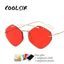 2019 Frameless Cat Sunglasses Women Designer metal frame fashion Square Vintage Sun Glasses Female Eyewear UV400 FML