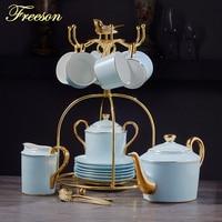 Gold Blau Knochen China Kaffee Set Luxus Porzellan Edle Tee Set Erweiterte Topf Tasse Keramik Becher Zucker Schüssel Creamer Teekanne drink-in Kaffeezubehör-Sets aus Heim und Garten bei