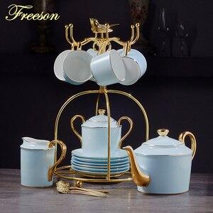 Gold Blue Bone China Coffee Se