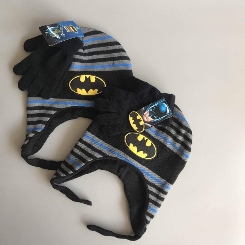 2017 Fashion Winter Cotton Batman Cartoon Hat <font><b>Glove</b></font> Sets For Baby Kids boys <font><b>Warm</b></font> Children Spiderman Knitted Hat