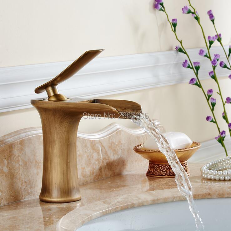 GIZERO Basin Sink Faucet Waterfall Mixer Taps Classic Antique Bronze Single Hole Water Tap Sink Crane