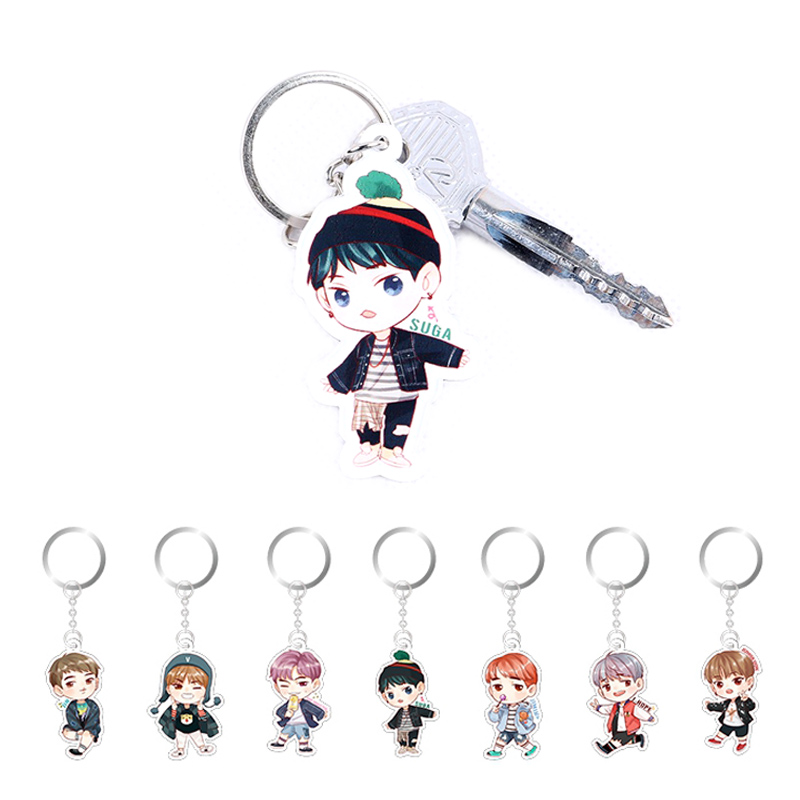 1PC Sale Cute Kpop BTS Bangtan Boys Suga Q Edition Acrylic Keychain Keyring Pendant mini motorcycle helmet keychain cute keyring