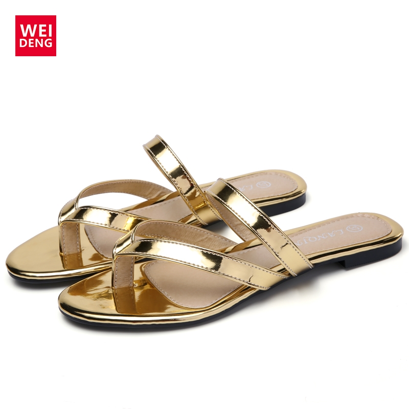 7e0bcfa97 WeiDeng 2017 Summer Flat Golden Glitter Flip Flops Sexy Beach Female Slip  On Ladies Sandals Slides Casual Woman Meme Shoes-in Slippers from Shoes on  ...