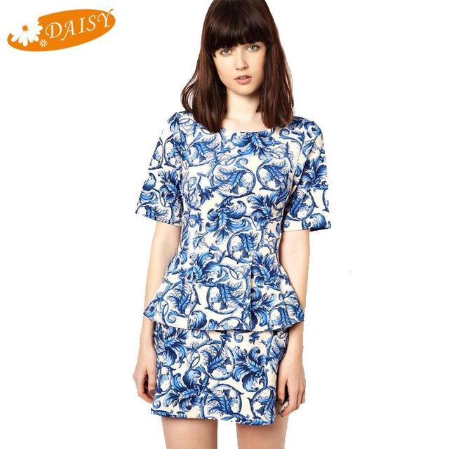 2015 camisetas del verano adelgazan Vintage patrón impreso blusa ...