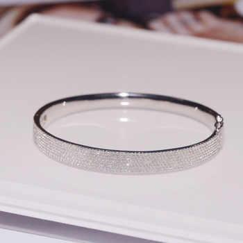 SLJELY Luxury Brand Real 925 Sterling Silver Kaleidoscope Wide Bangle Micro Cubic Zirconia Bracelet Women Fashion Fine Jewelry - DISCOUNT ITEM  20 OFF Jewelry & Accessories