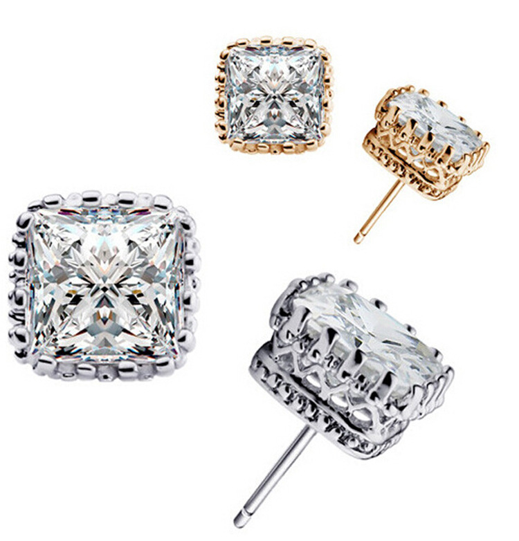 2016 New Arrival 3 Colors Small 925 Sterling Silver Stud Earrings With Cubic Zirconia Free Shipping For Women's Gift