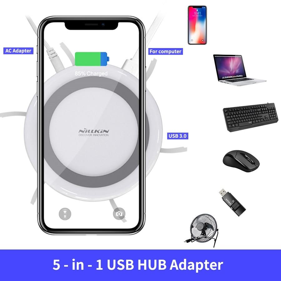NILLKIN USB Breiden USB 3.0 HUB 5 Poorten voor Xiaomi Pocophone F1 Voor iPhone XS voor Samsung S8 Qi Draadloze lader Android Adapter