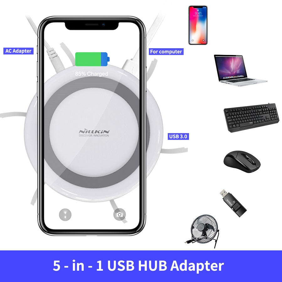 NILLKIN USB Extend USB 3.0 HUB 5 Ports for Xiaomi Pocophone F1 For iPhone XS for Samsung S8 Qi Wireless Charger Android Adapter