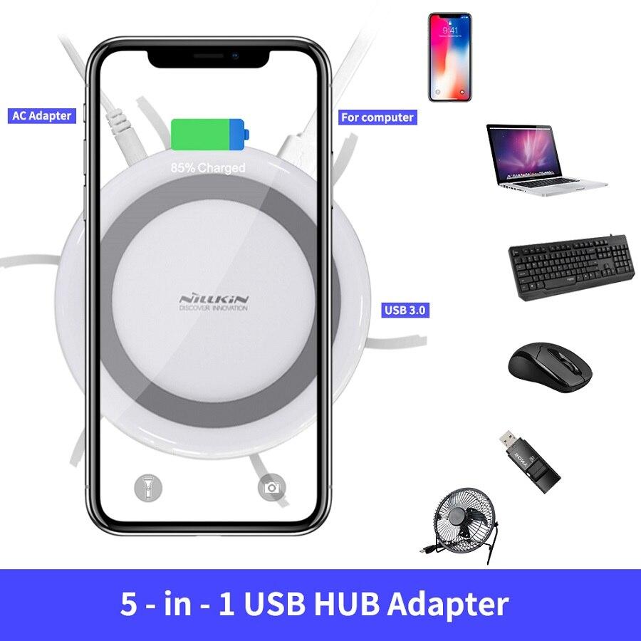 NILLKIN USB Продлить концентратор USB 3,0 5 Порты для Xiaomi Pocophone F1 для iPhone XS для samsung S8 Qi Беспроводной Зарядное устройство Android адаптер