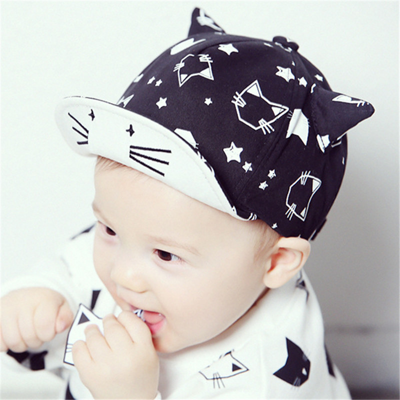 20# Korean Style Baby Hats Adjustable Baseball Cap Children Cute Cat Print Cotton Caps Kids Boys Girls Sun Outdoor Hat - Nights Mistress store