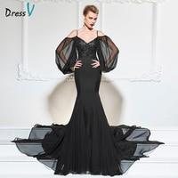 Dressv Black Evening Dress Trumpet Sweetheart Neck Sweep Train Long Sleeves Wedding Party Formal Dress Mermaid