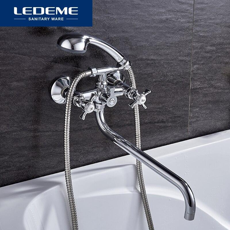 LEDEME Смеситель для ванны с длинным изливом 350мм латунь Цвет: хром L2611