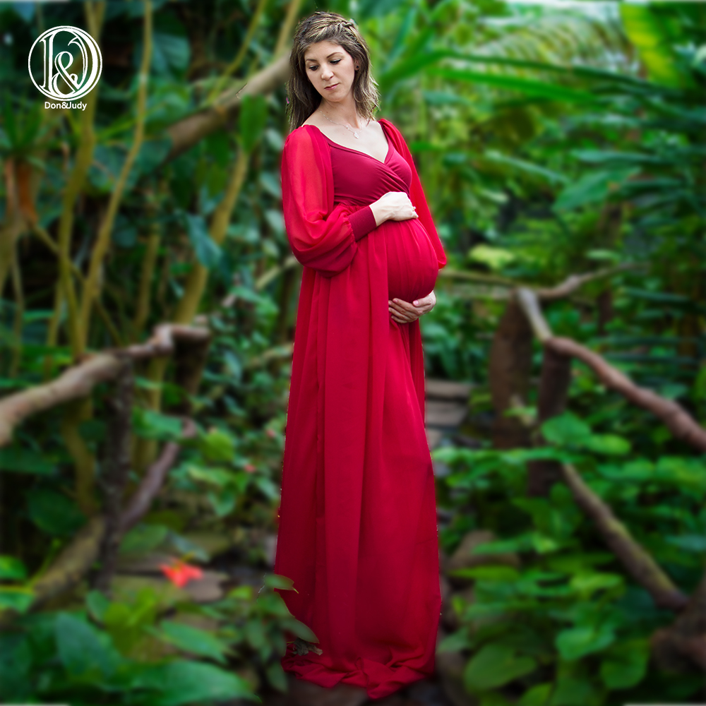 Best Sale Long Sleeve Soft Chiffon Maternity Dresses Pregnancy