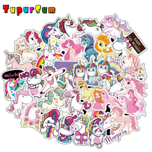 50 Pcs Funny Waterproof Unicorn Stickers for Laptop Skateboard Luggage Car Styling Bicycle Motorcycle Doodle Decals Cute Sticker