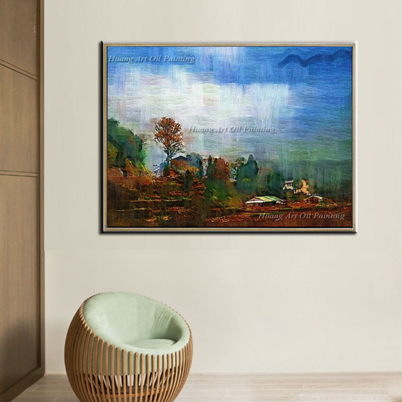 Village Landscape Paintings Hand Painted Oil Painting on Canvas Impression Handmade Wall Painting for Christmas Gift Paintings