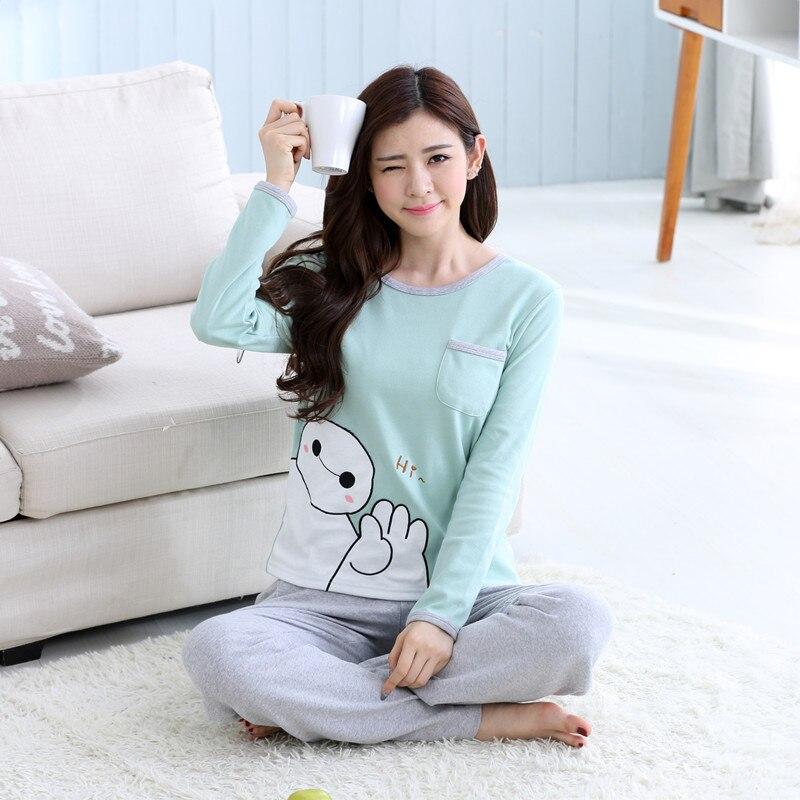 New Green Print Female   Pajamas     Set   Long Sleeves Sleepwear Women Cotton Linen Pyjamas Suits Flower Nightwear Homewear S4