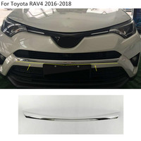 Car styling cover protection Bumper engine trim Front bottom Grid Grill Grille hoods edge 1pcs For toyota RAV4 2016 2017 2018