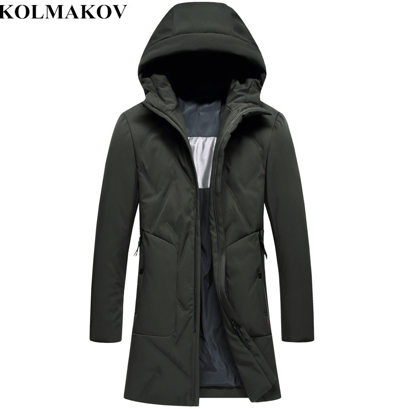 KOLMAKOV New Mens Clothing White Duck   Down   Jackets 2018 Winter M-3XL Thickening Long   Down     Coats   Slim Fit Hooded Overcoats Men