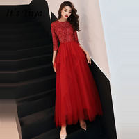 It's YiiYa Evening Dress 2019 Shiny Sequined O neck Tiered Pleat Wine Red Dinner Gowns SB022 A line robe de soiree