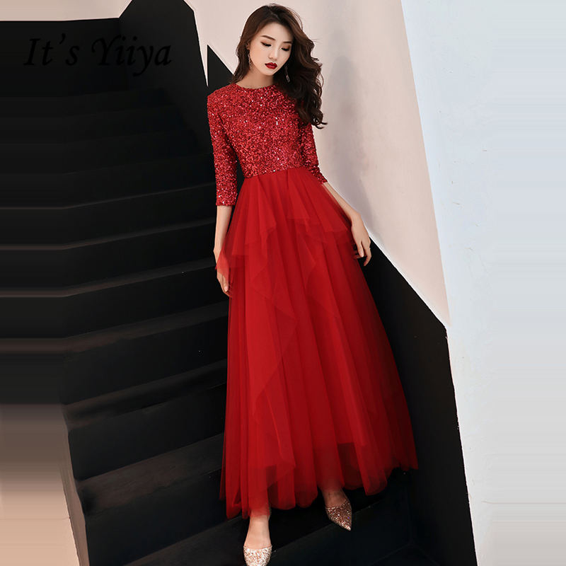 It's YiiYa   Evening     Dress   2019 Shiny Sequined O-neck Tiered Pleat Wine Red Dinner Gowns SB022 A-line robe de soiree