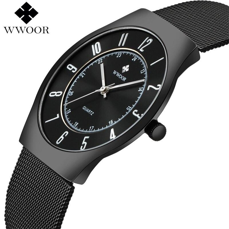 2017 WWOOR Top Marque De Luxe Hommes Ultra Mince Étanche Sport Montres Hommes de Quartz Montre-Bracelet Mâle Noir Horloge relogio masculino