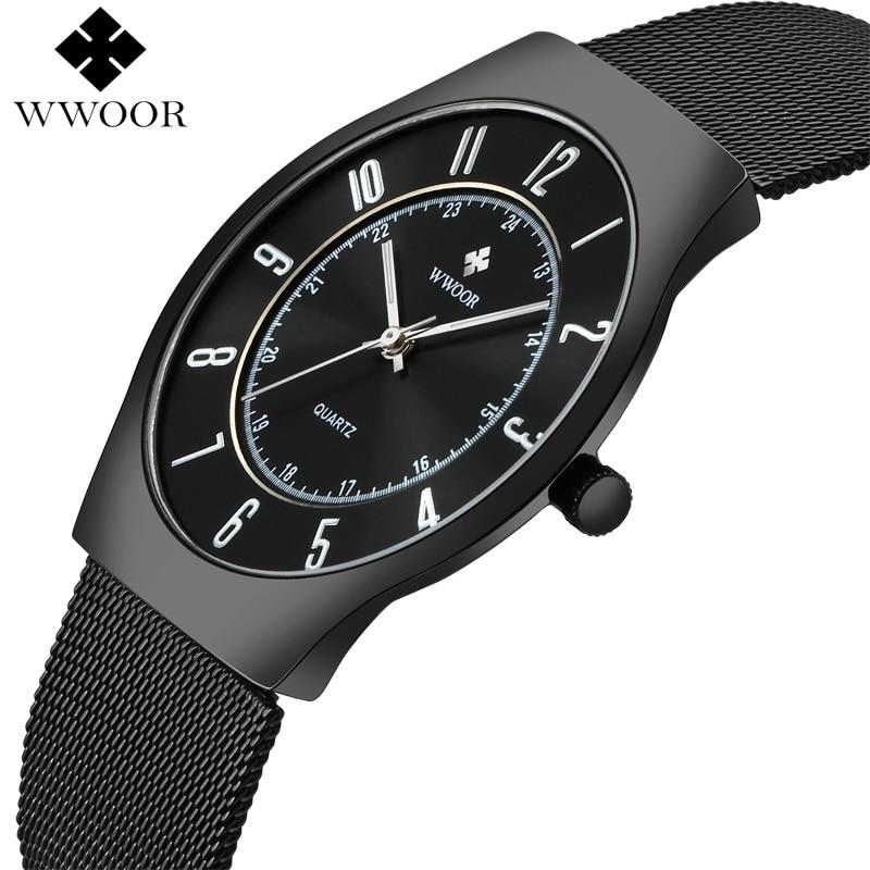 WWOOR Top Brand Luxury Men Ultra Thin Waterproof Sports Watches Men's Quartz Wrist Watch Male Slim Black Clock relogio masculino