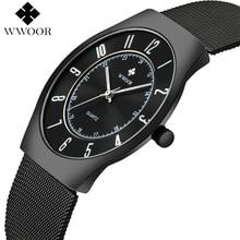 Wwoor marca superior de luxo masculino ultra fino à prova dwaterproof água esportes relógios quartzo relógio de pulso masculino preto fino relógio relogio masculino