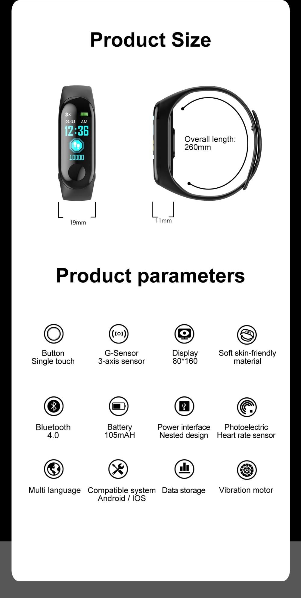 Torntisc W3 Fitness Bracelet Color-screen IP68 Waterproof blood pressure Oxygen Monitor sport Heart Rate Smart band pk mi band 3 (17)