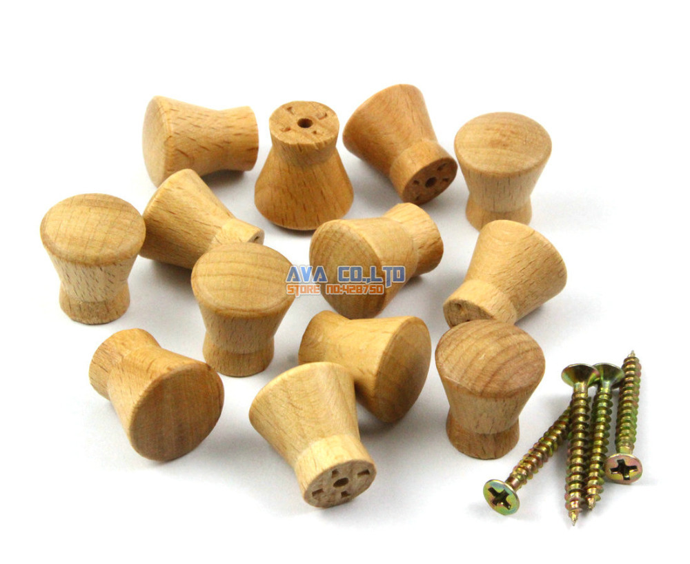 50 Pieces 17mm Wooden Drawer Knob Pull Cabinet Knob Wood